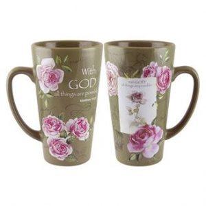 With God Roses Latte Mug
