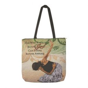 She Who Kneels Woven Tote Bag
